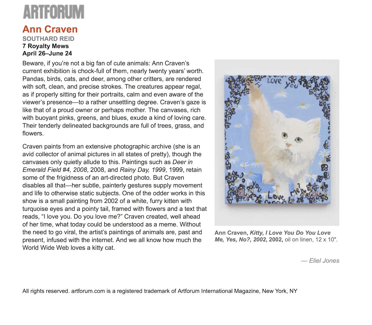 Ann Craven - artforum.com : critics' picks
