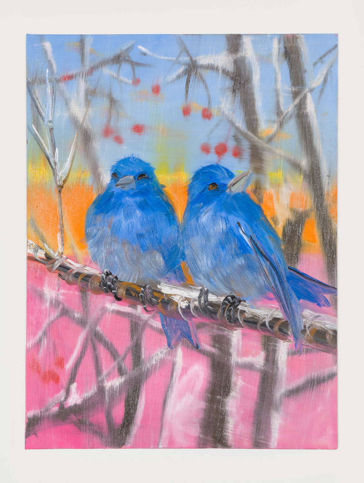 08-Two Eastern Blue Birds (in Snow at Sunset), 2018-1