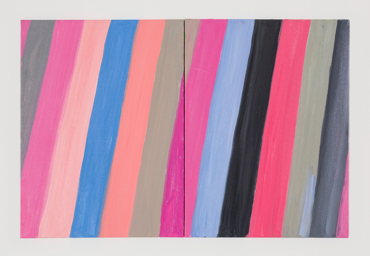 17-Diptych (Pink Canary, on Pink, on Blue), 2017-1